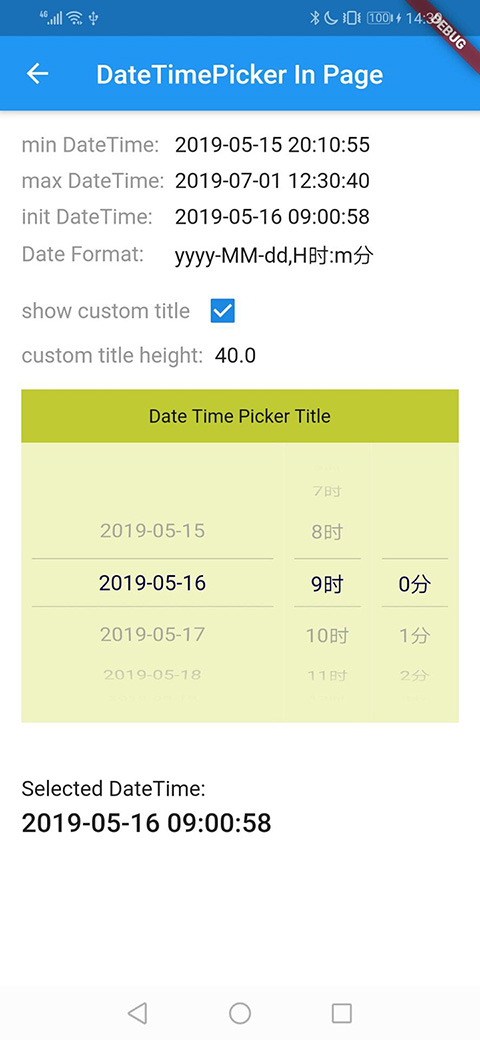 Example: DateTimePickerWidget