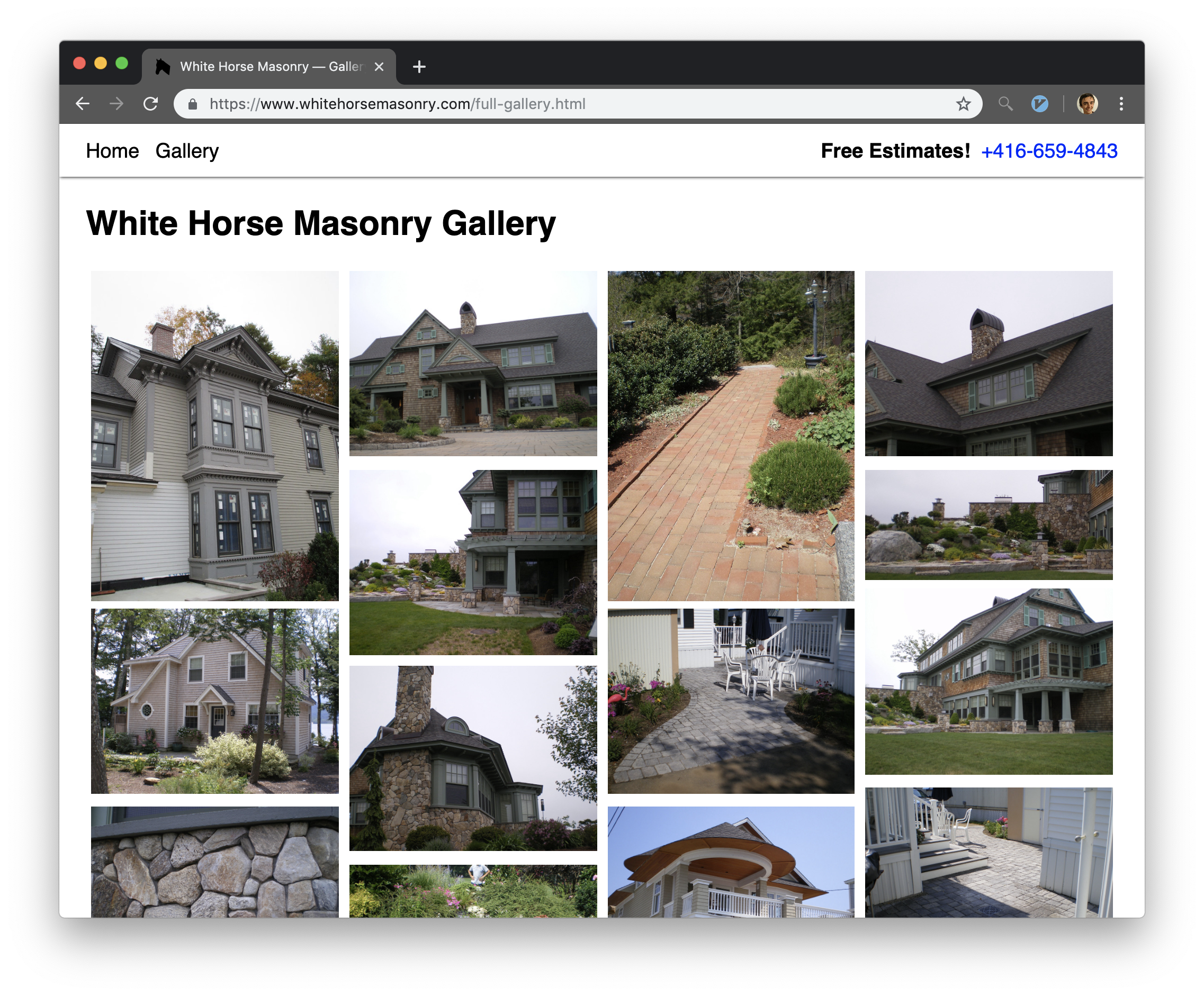 A screen shot of the white horse masonry website galleryq page.