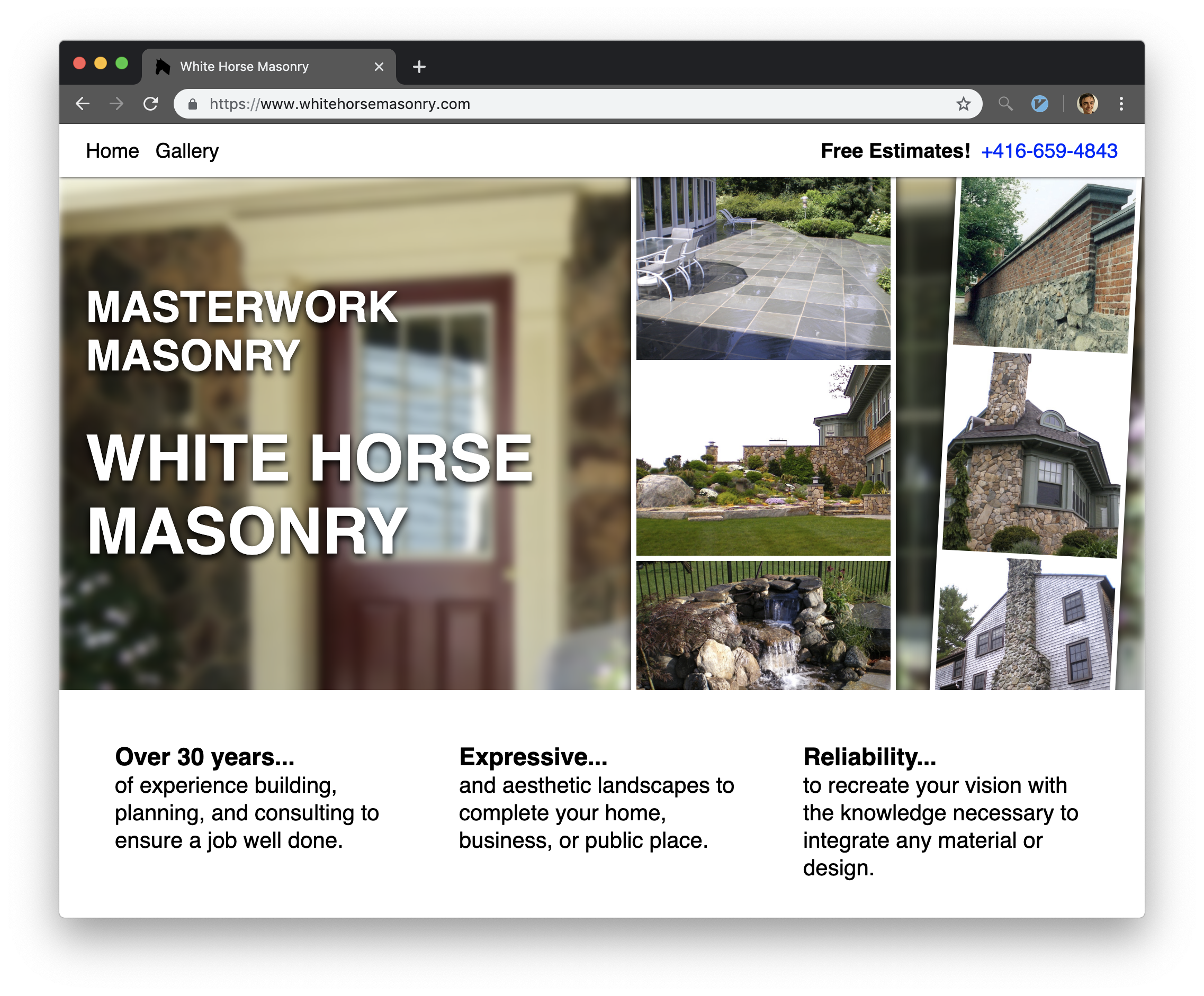 A screen shot of the white horse masonry website home page.