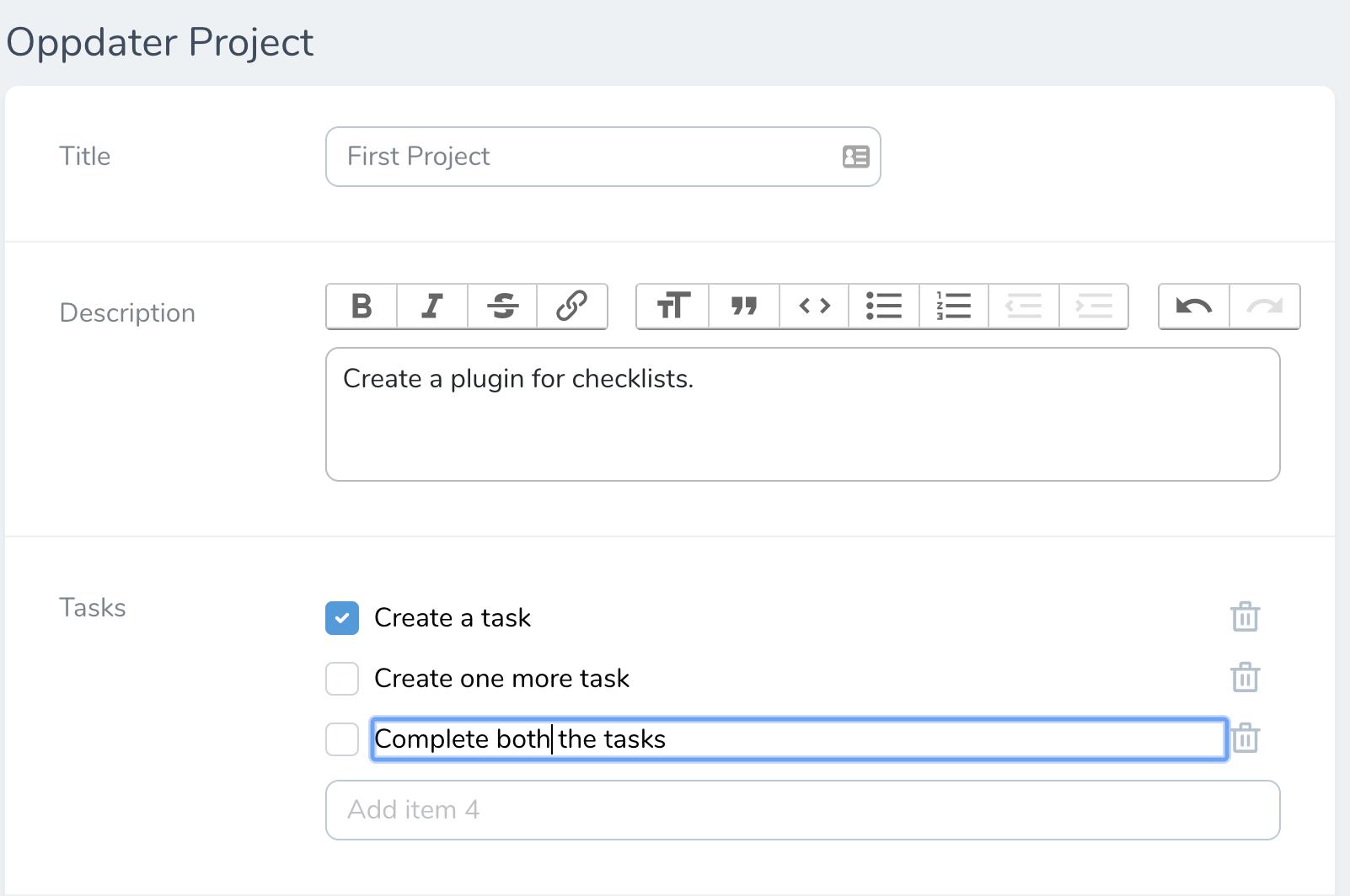Checklist-form-page