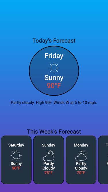 example widget captured with phone dimensions