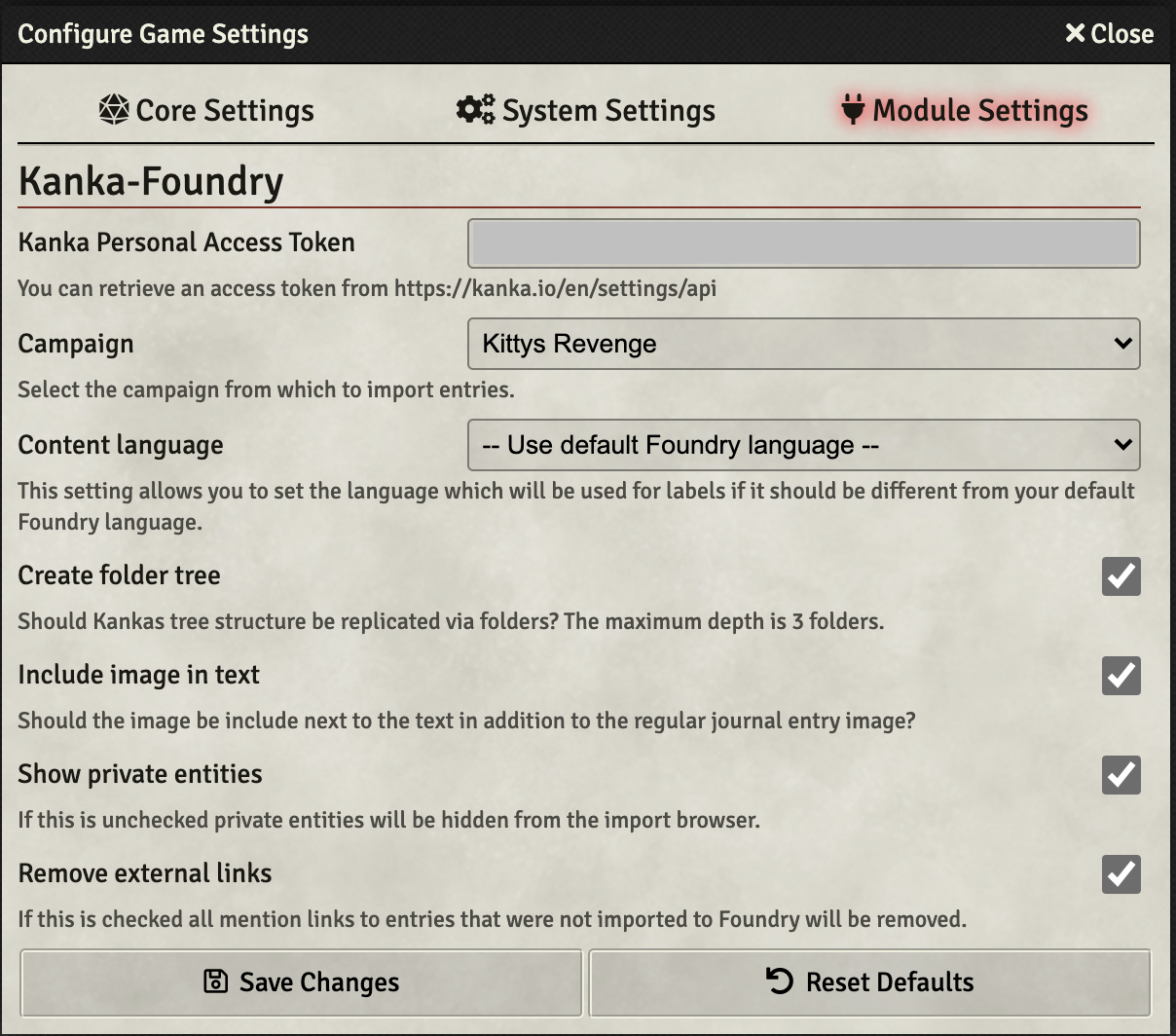 Screenshot of the settings view.