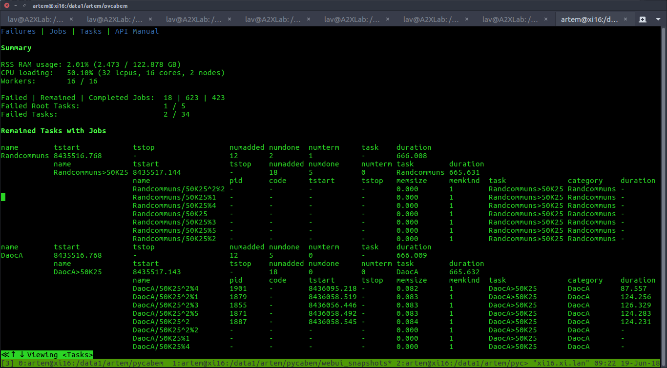 WebUI Console, Failures page (root)
