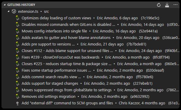GitLens File History explorer