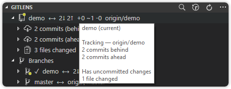 Richer tooltips and working tree and upstream status