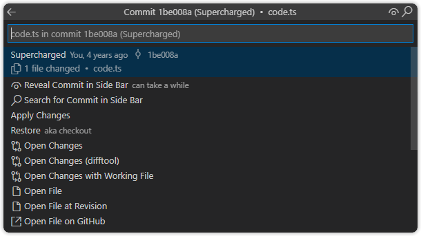 Commit File Details Quick Pick Menu