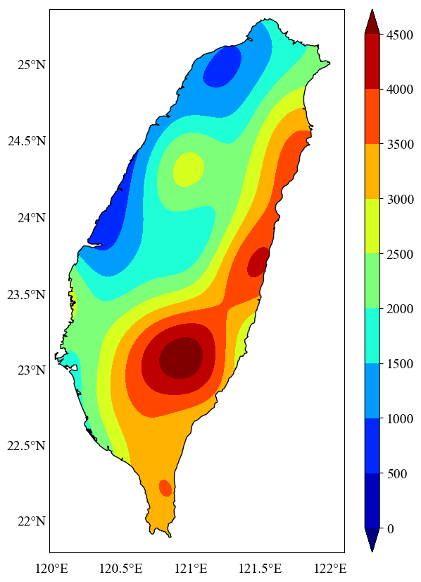 Plotting the geospatial data clipped by coastlines in python