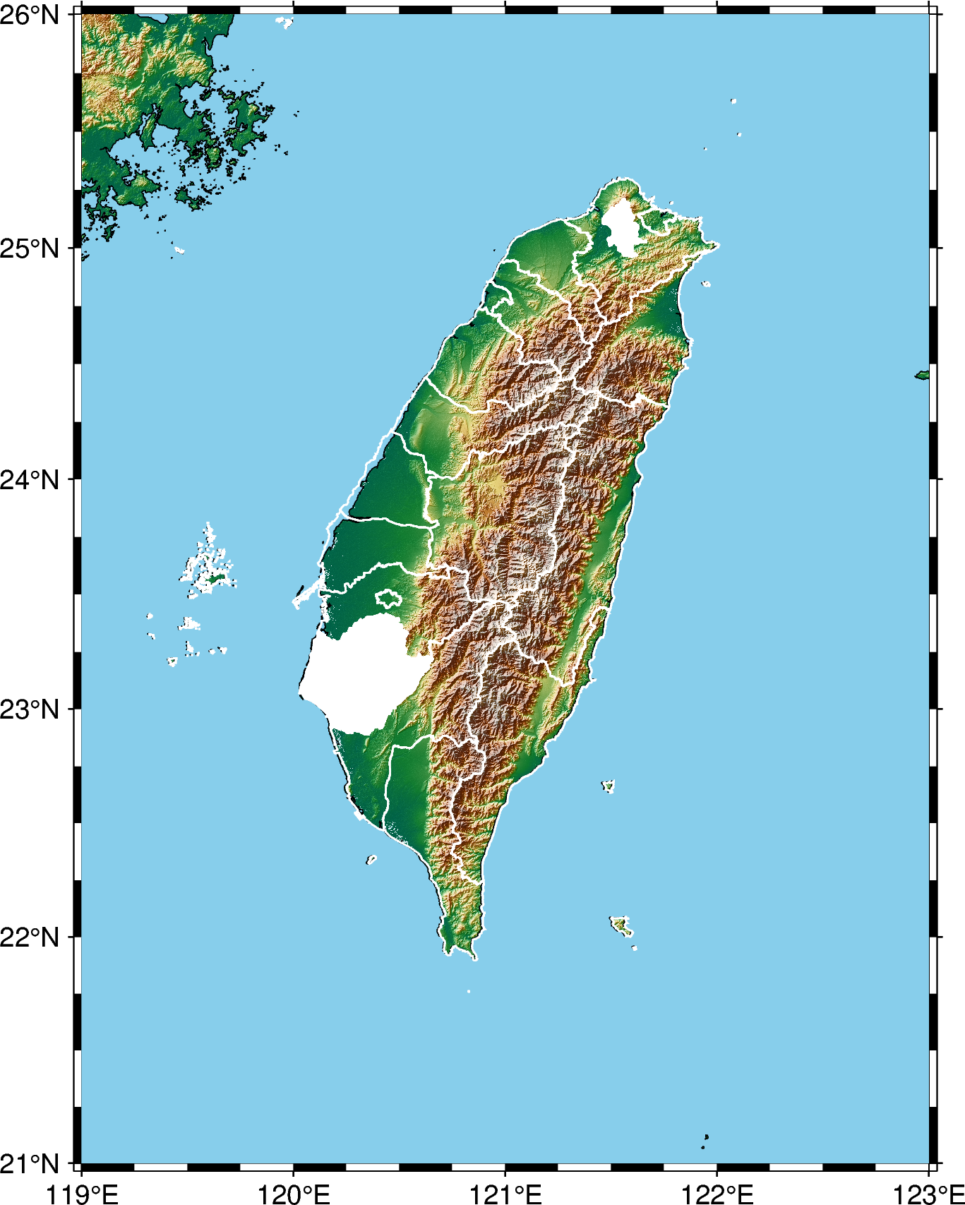 Topographic Map of Taiwan with counties