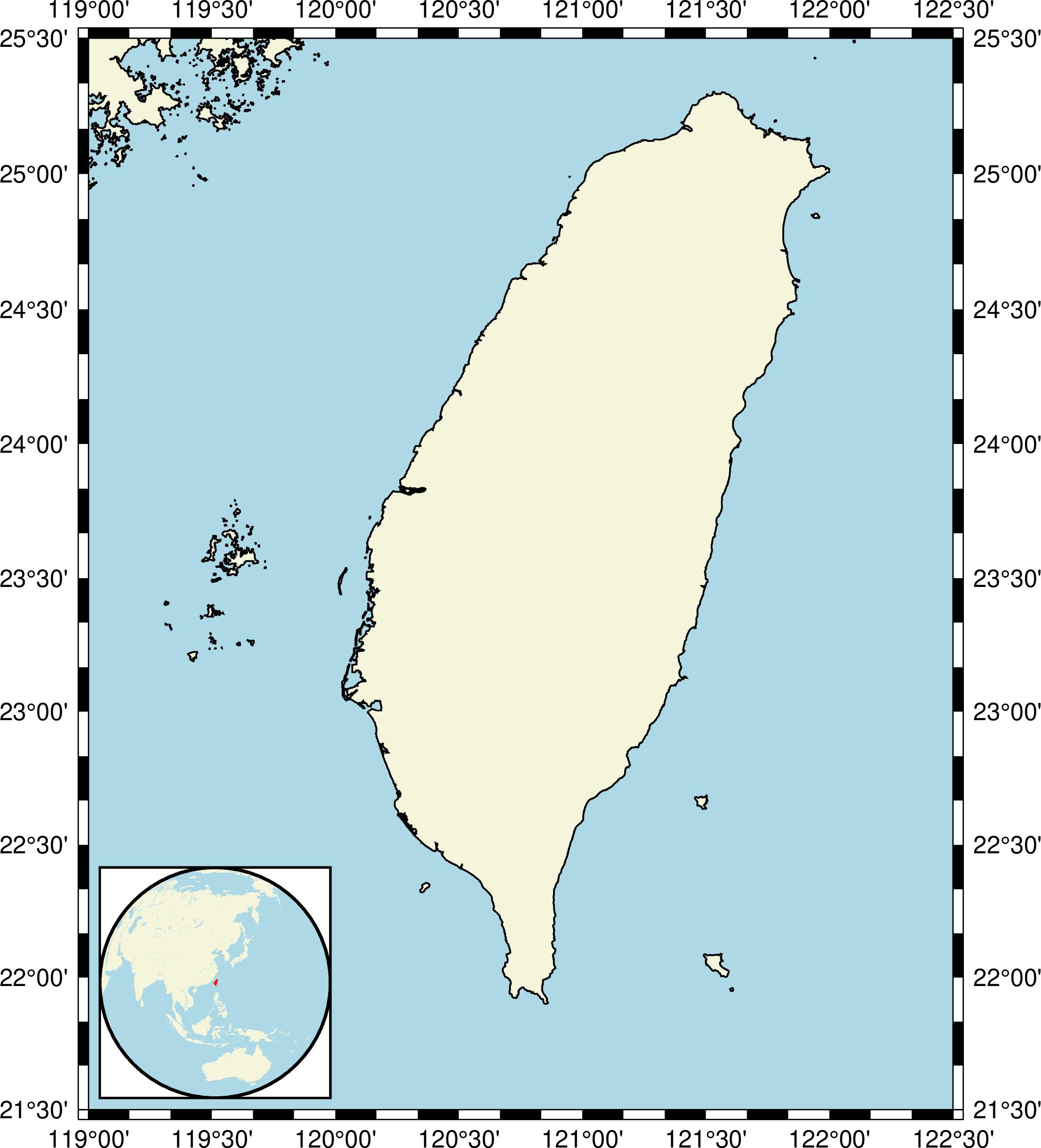 taiwan basemap with frame