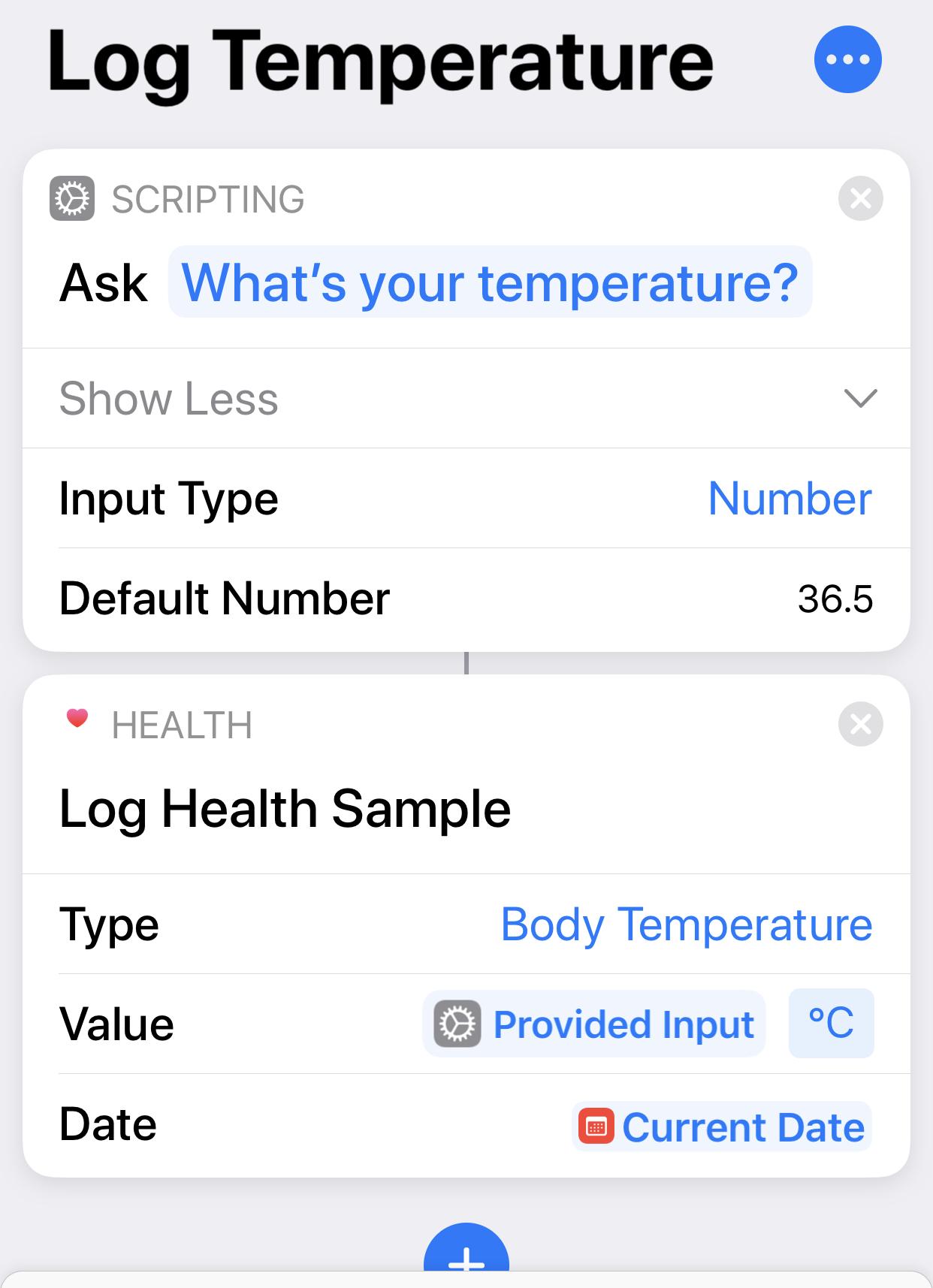 Iphone shortcut to quickly log body temperature [ios]