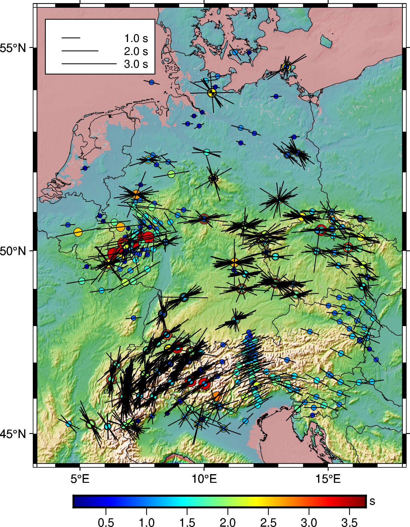 Topographic Shear wave splitting measurements from SKS database of Germany