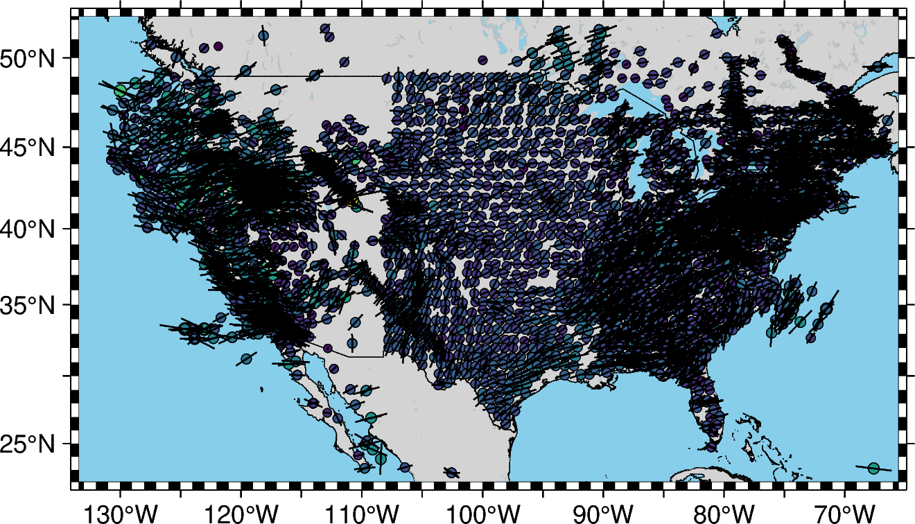 Shear wave splitting measurements of North America from SKS database