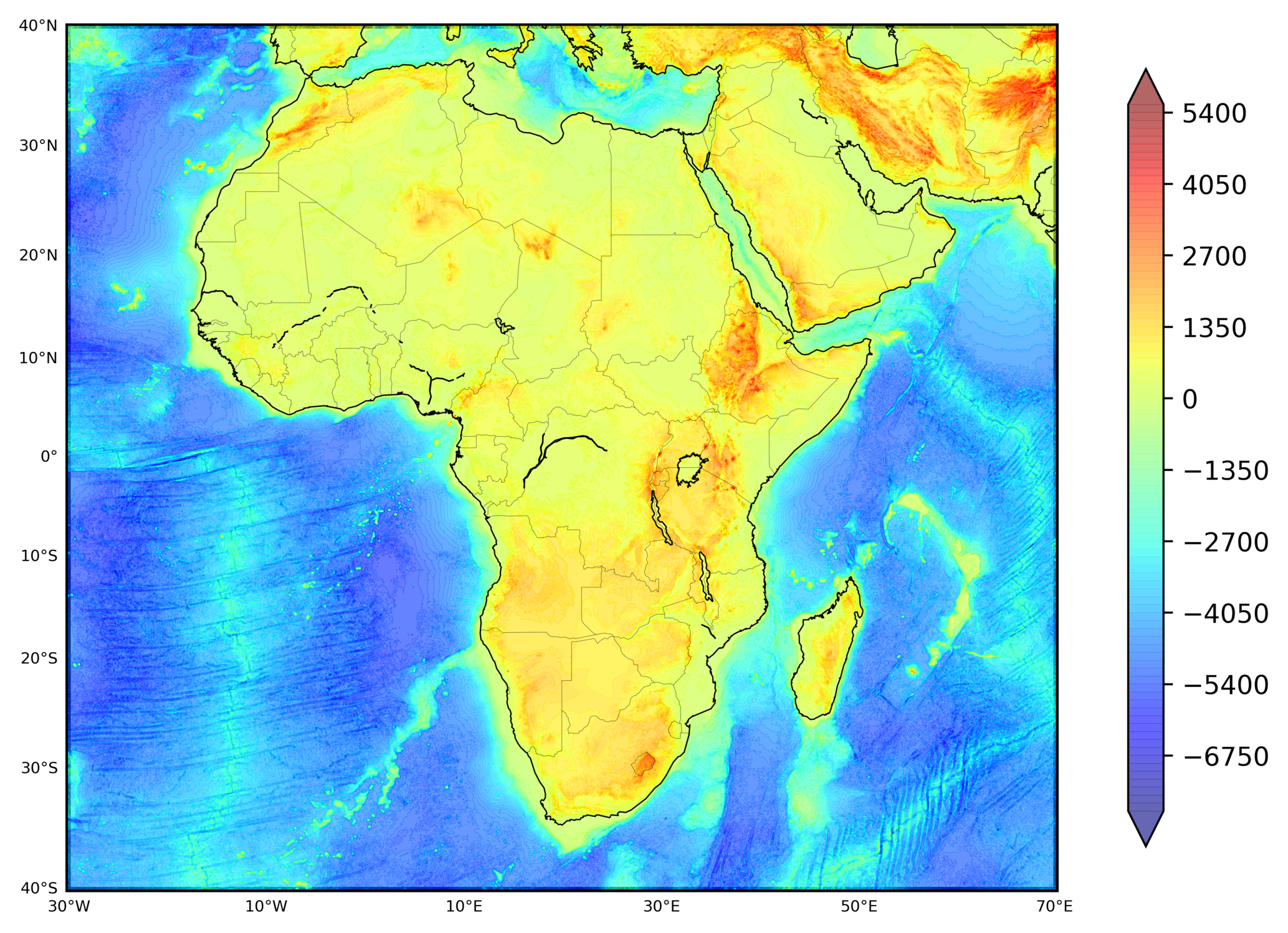 Plotting 1 arc-minute global relief map in python