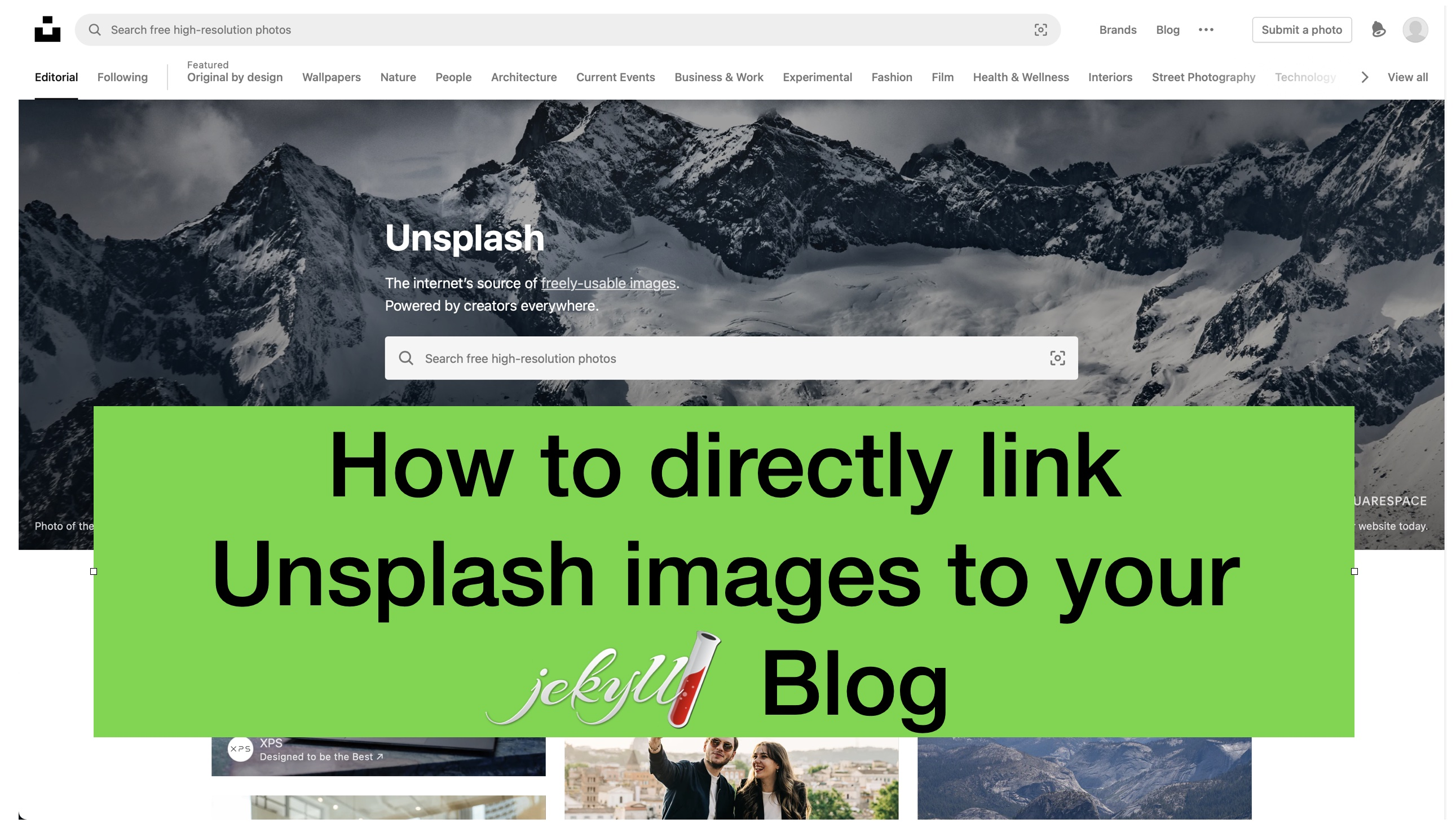 How to link unsplash images directly to your jekyll blog