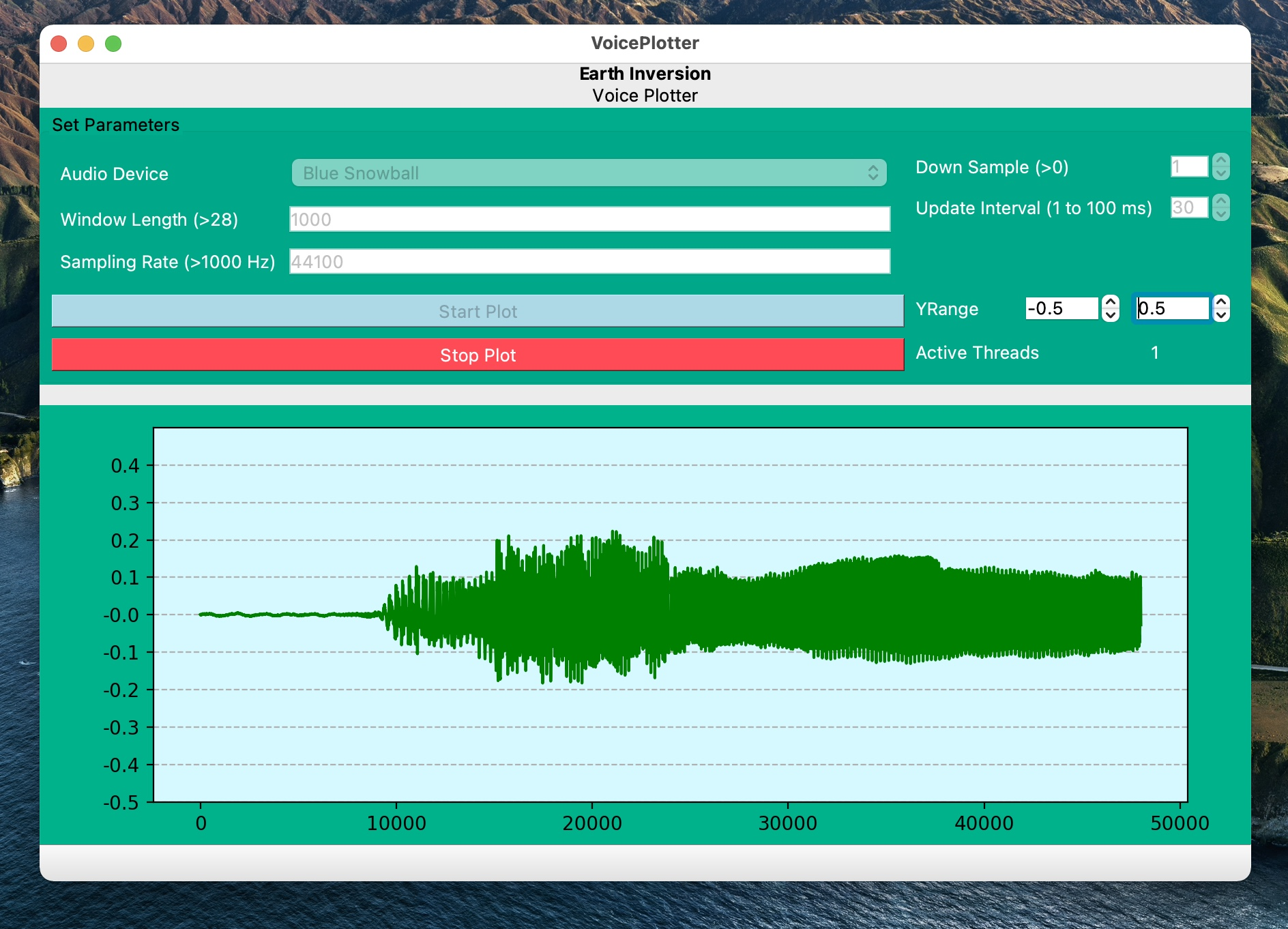 Pyqt5 application for visualizing ambient sound in real-time