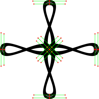 Screenshot of Bézier path with control points and handles