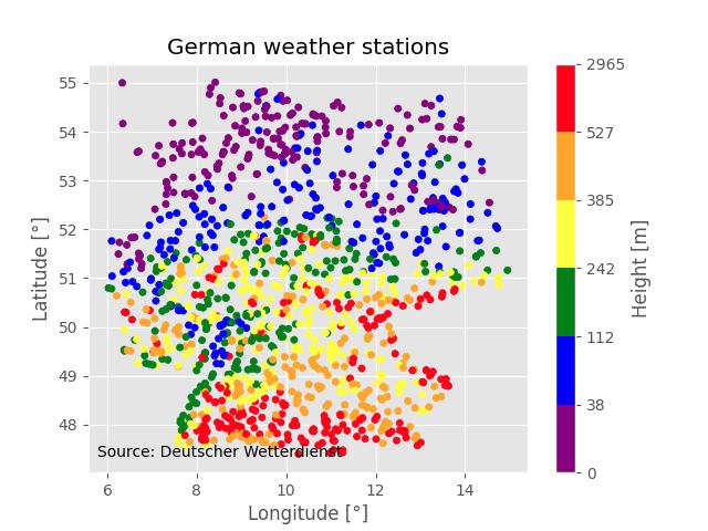 German weather stations managed by Deutscher Wetterdienst