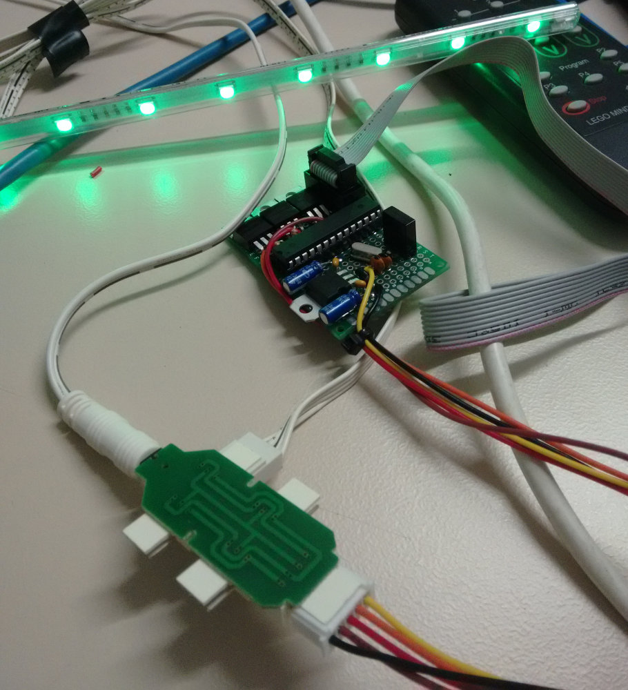 Picture of the board with an LED strip attached.