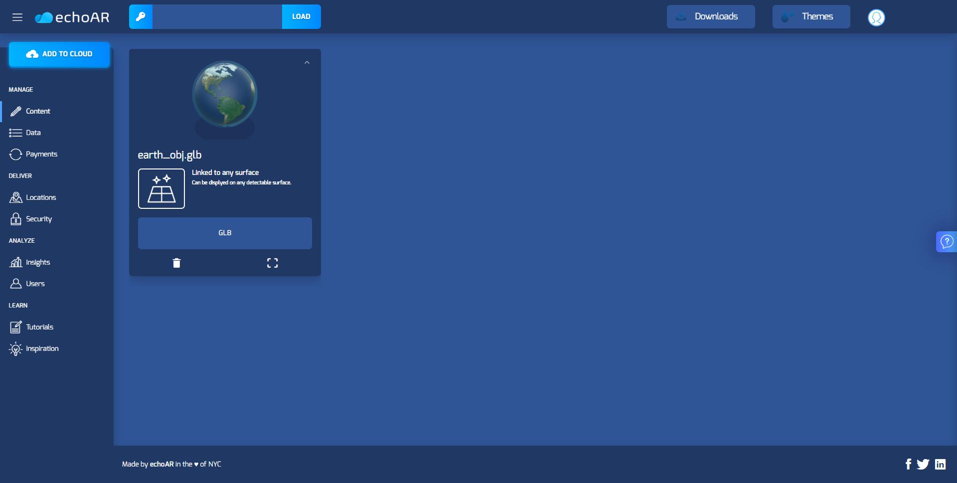 echoAR console screenshot