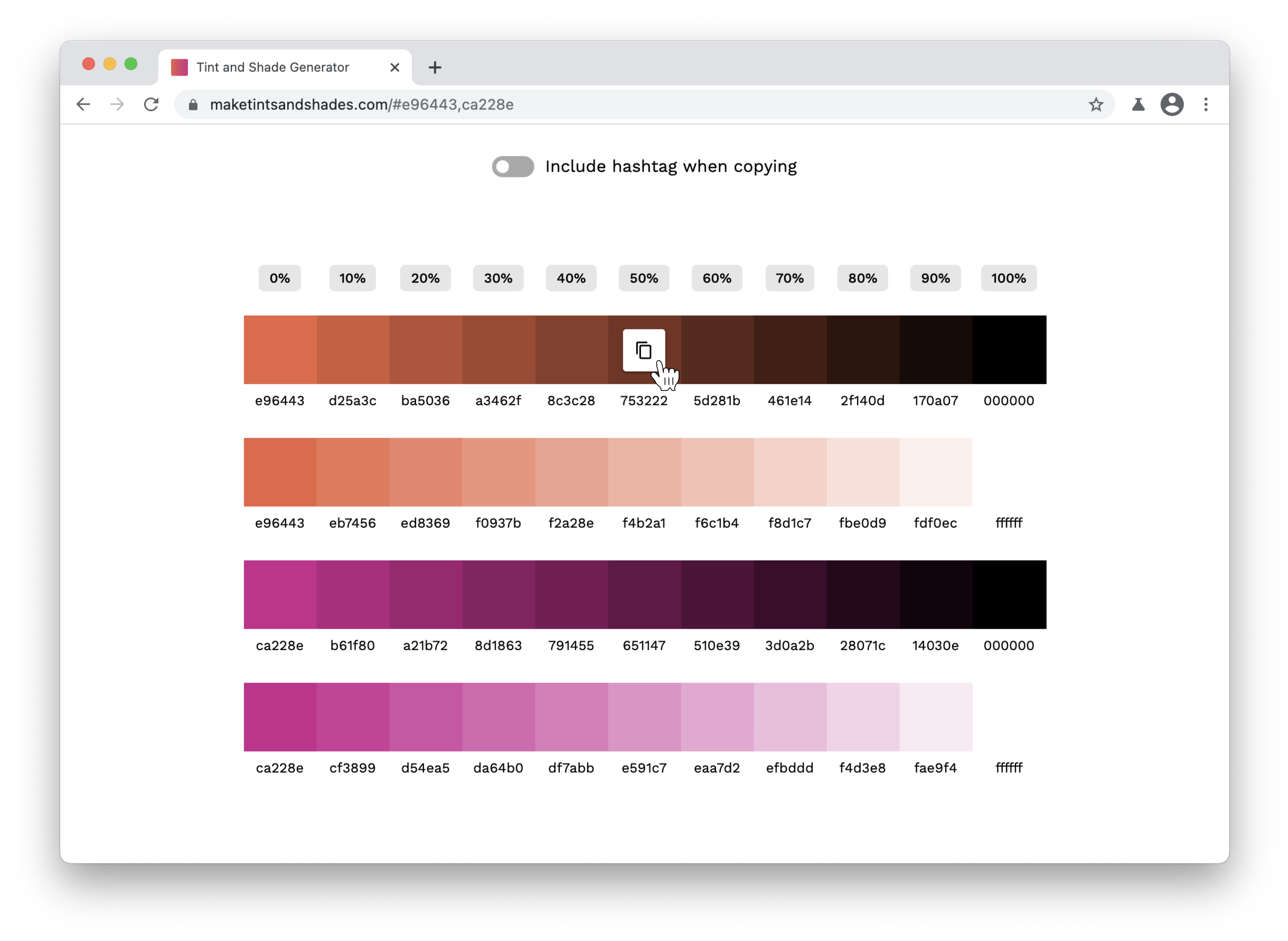 Screenshot of color swatches after submitting form