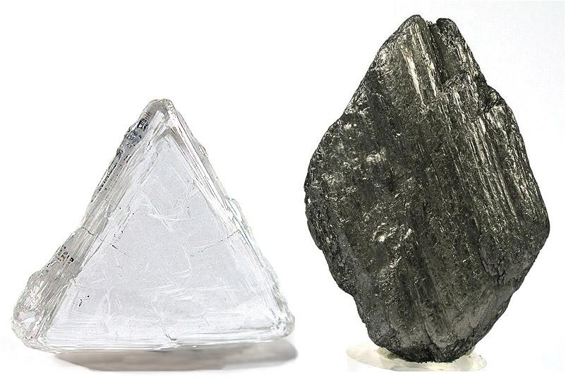 Photo of diamond and graphite