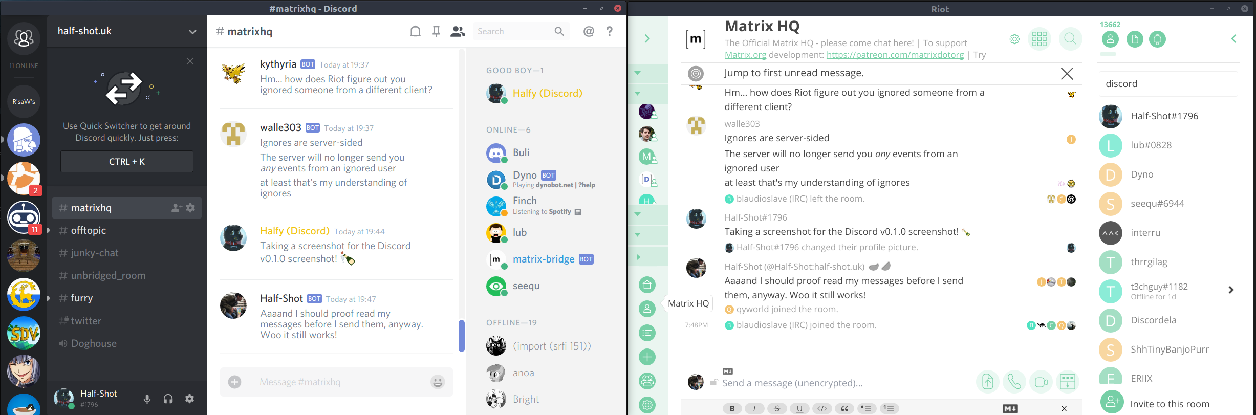 Screenshot of Riot and Discord working together