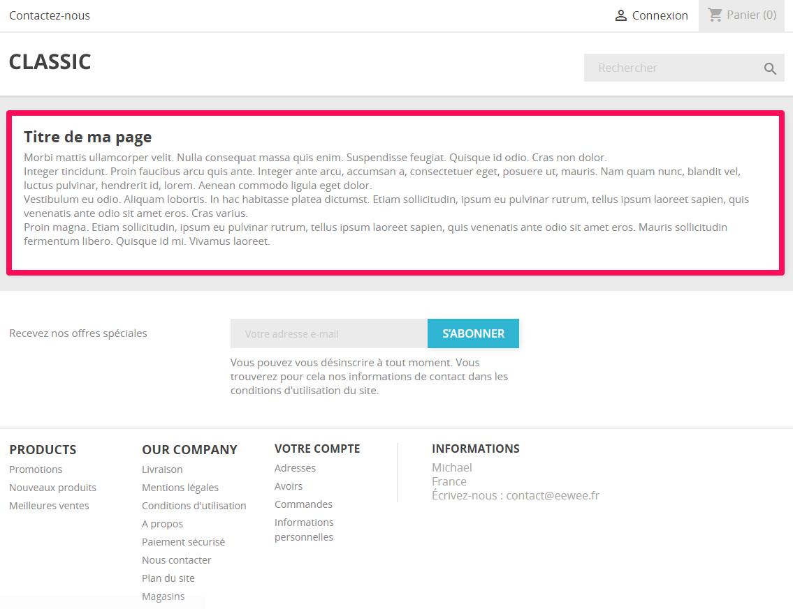 PrestaShop 1.7 : Custom page