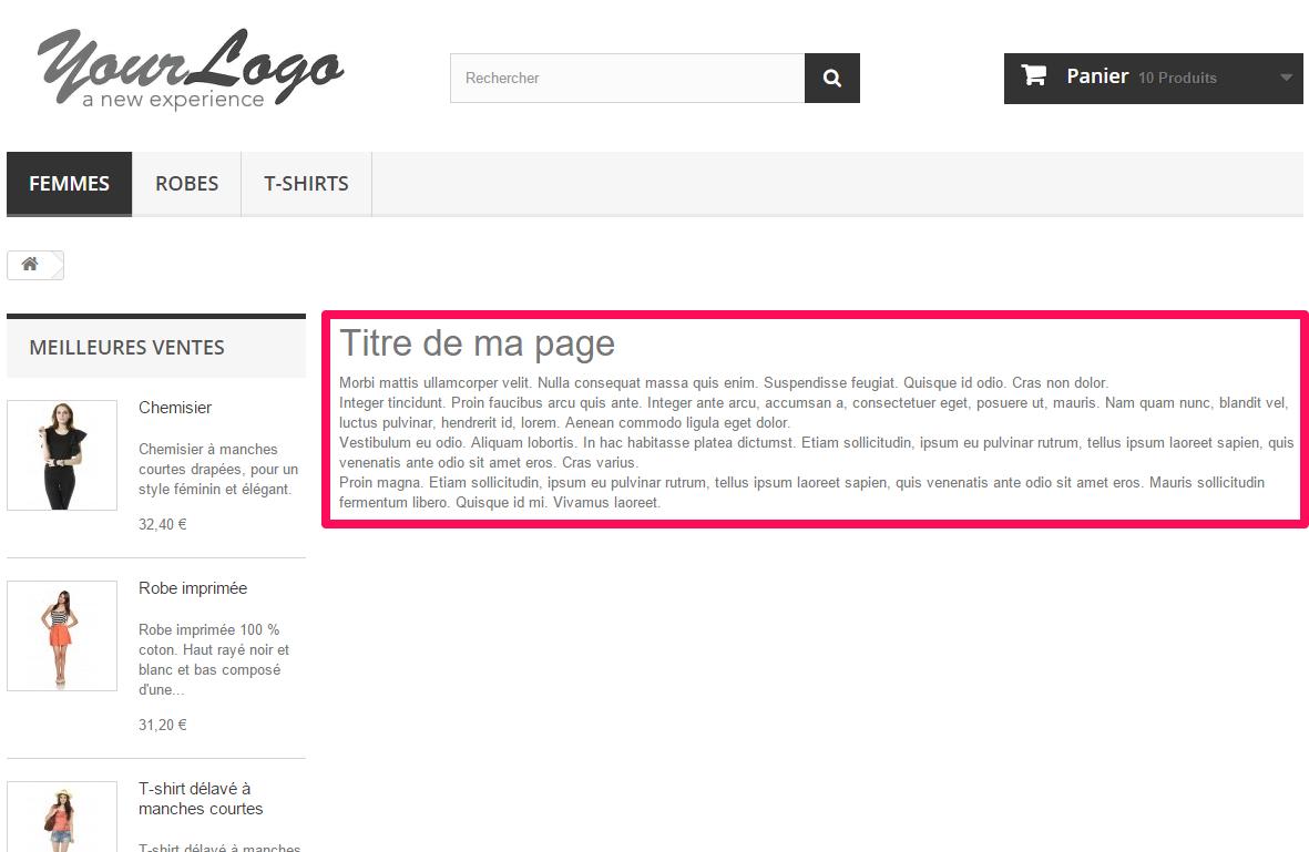PrestaShop : Custom page