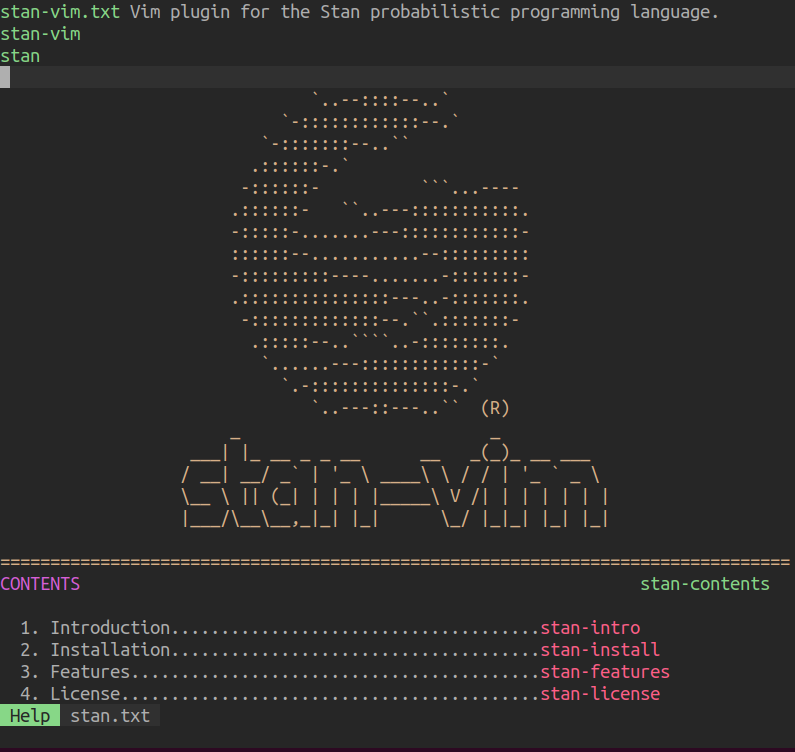 Screenshot of the stan-vim documentation