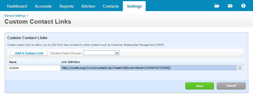 Xero Customise Link