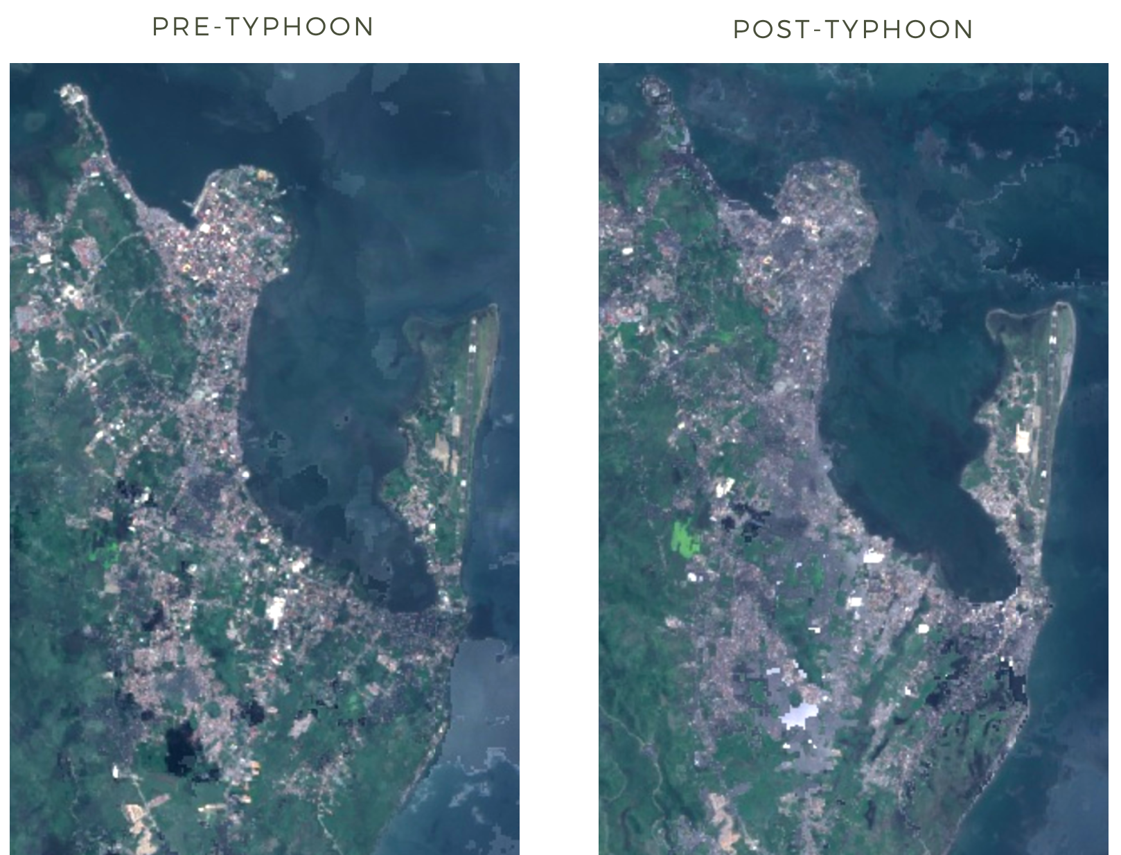 Pre and post typhoon satellite imagery