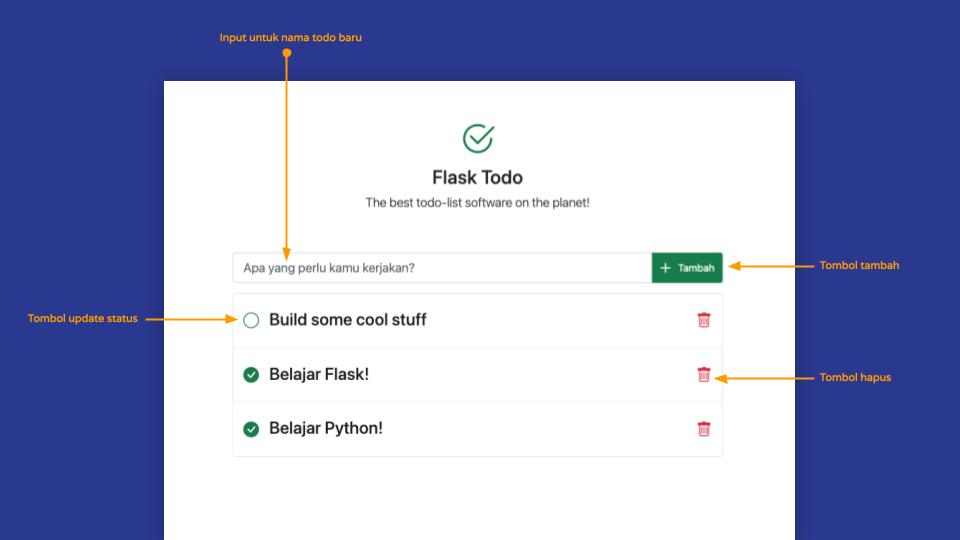 Tampilan Aplikasi Todolist dengan Flask
