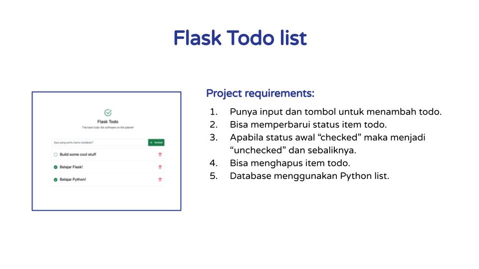 Requirements Aplikasi Todolist dengan Flask