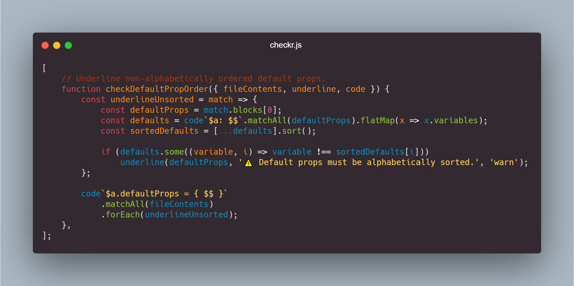 Example checkr.js rule