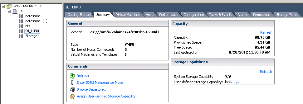 check assigned capability VCAP5 DCA Objective 1.1 – Implement and Manage Complex Storage Solutions