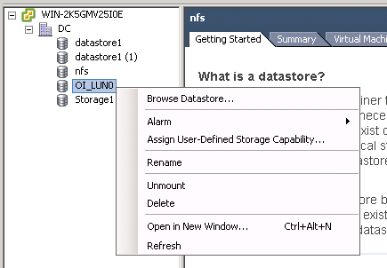 right click datastore VCAP5 DCA Objective 1.1 – Implement and Manage Complex Storage Solutions