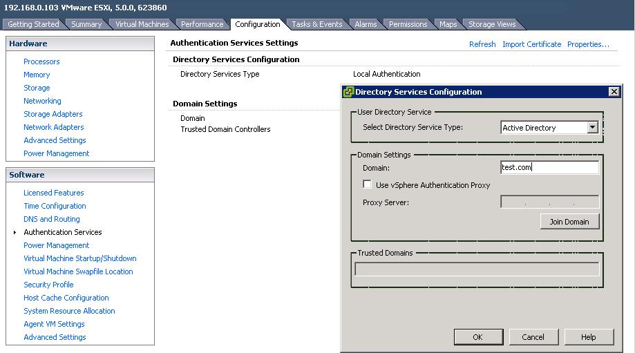 ad integration VCAP5 DCA Objective 7.1 – Secure ESXi Hosts