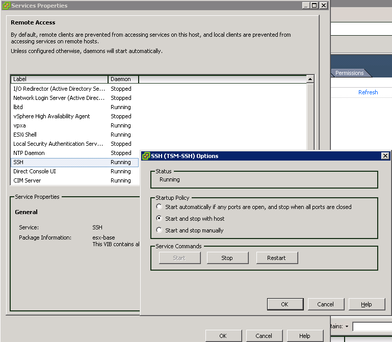 enabled ssh vscl VCAP5 DCA Objective 7.1 – Secure ESXi Hosts