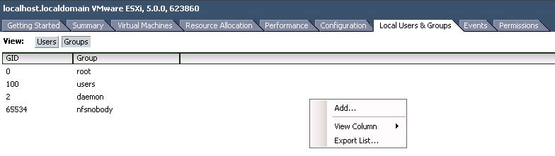 esx groups VCAP5 DCA Objective 7.1 – Secure ESXi Hosts
