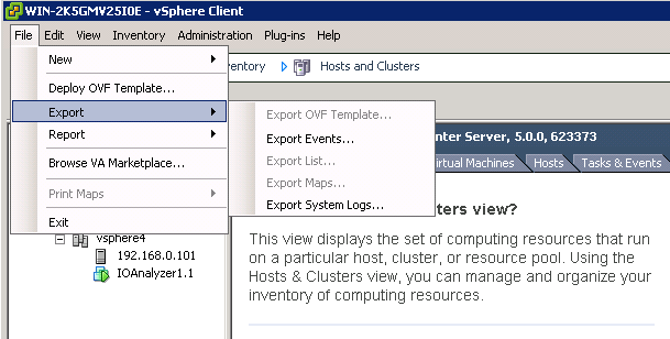 export system logs from vcenter VCAP5 DCA Objective 6.1 – Configure, Manage, and Analyze vSphere Log Files