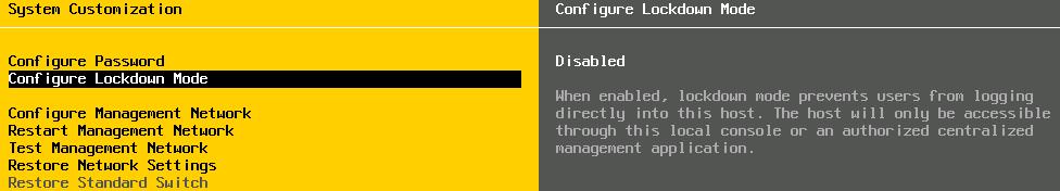 lockdown mode dcui VCAP5 DCA Objective 7.1 – Secure ESXi Hosts