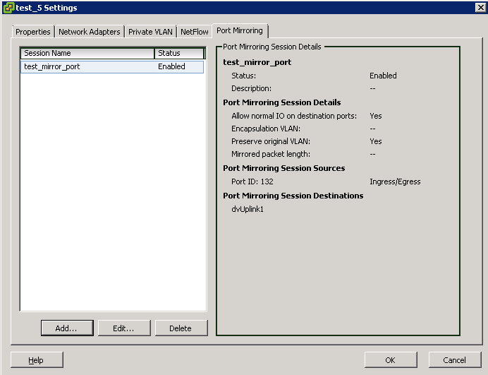 mirror session check settings VCAP5 DCA Objective 6.3 – Troubleshoot Network Performance and Connectivity