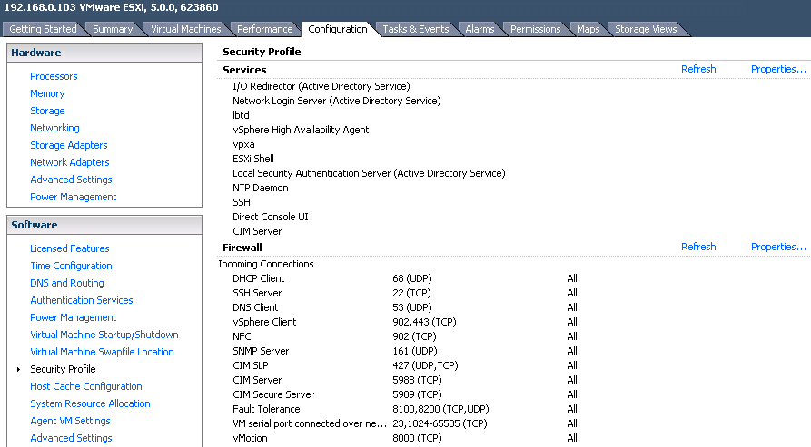 security profile view VCAP5 DCA Objective 7.2 – Configure and Maintain the ESXi Firewall