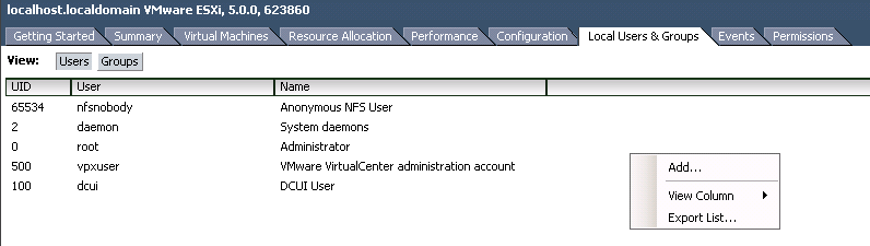 users groups vscl VCAP5 DCA Objective 7.1 – Secure ESXi Hosts