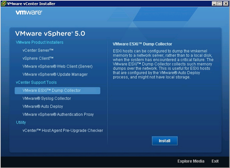 vcenter install dump collector VCAP5 DCA Objective 6.1 – Configure, Manage, and Analyze vSphere Log Files