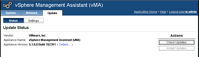 vma update page VCAP5 DCA Objective 8.2 – Administer vSphere Using the vSphere Management Assistant