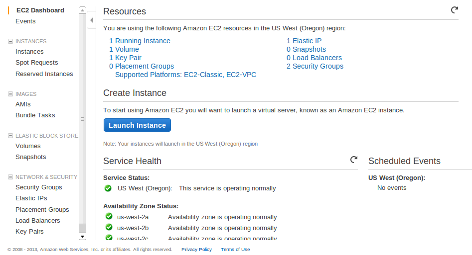 EC2 Dashboard Deploy an Amazon EC2 instance in the Free Usage Tier