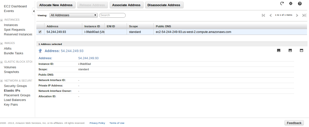 EIP Associated Deploy an Amazon EC2 instance in the Free Usage Tier
