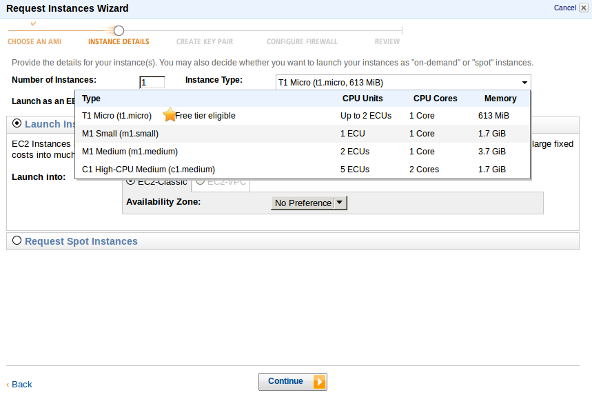 Instance details Deploy an Amazon EC2 instance in the Free Usage Tier