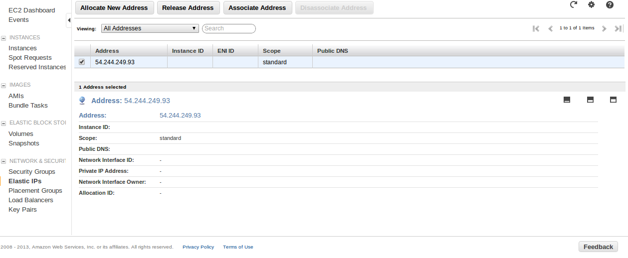 New EIP Deploy an Amazon EC2 instance in the Free Usage Tier
